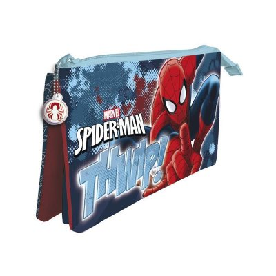 Estuche 3 compartimentos 22X12cm Spiderman