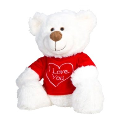 Wholesaler of Peluche oso blanco camiseta roja 39cm