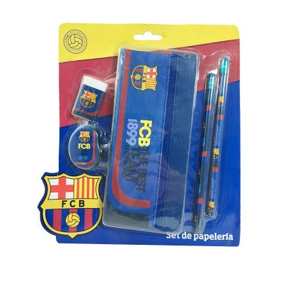 Set de papelería estuche de tela + 4 piezas F.C. Barcelona