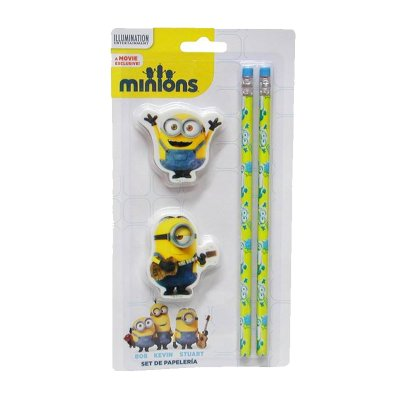 Minions 2 pens and 2 erasers set