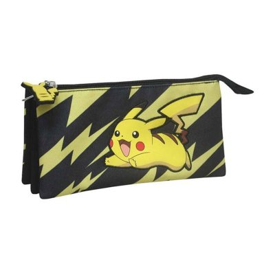 Estuche 3 compartimentos 22X12cm Pokemon Pikachu