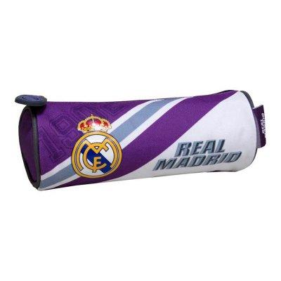 Estuche cilíndrico blanco-morado Real Madrid 22x8cm
