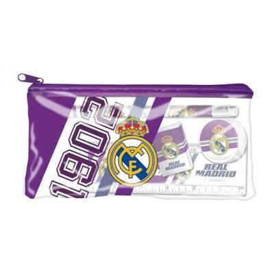 Set de papelería estuche de plástico + 4 piezas Real Madrid - morado
