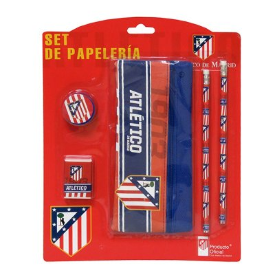 Set de papelería estuche de tela + 4 piezas Atlético de Madrid