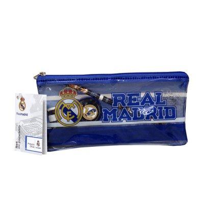 Set de papelería estuche de plástico + 4 piezas Real Madrid - azul