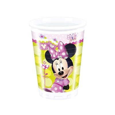 8 vasos de plástico desechables 200ml Minnie Mouse