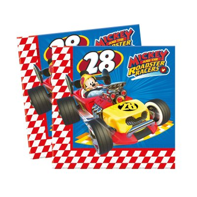 Paquete 20 servilletas 33x33cm Mickey and The Roadster Racers