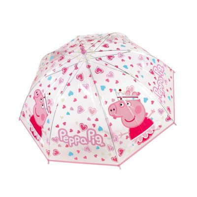 Paraguas transparente manual burbuja Peppa Pig - rosa
