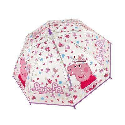 Paraguas transparente manual burbuja Peppa Pig - violeta