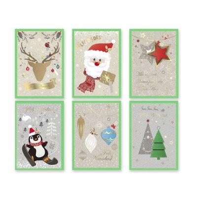 Tarjetas c/sobres verdes Navidad