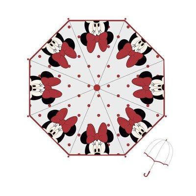 Paraguas transparente manual Minnie Mouse 46cm - rojo