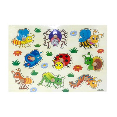 Puzzle madera encajable insectos 9pzs