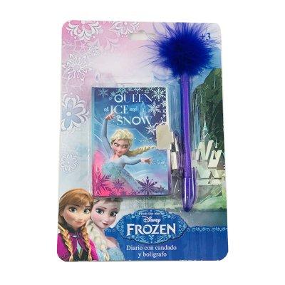 Set diario pequeño y bolígrafo con plumas Frozen