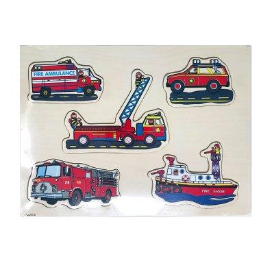 Wholesaler of Puzzle madera encajable vehículos de rescate 5pzs