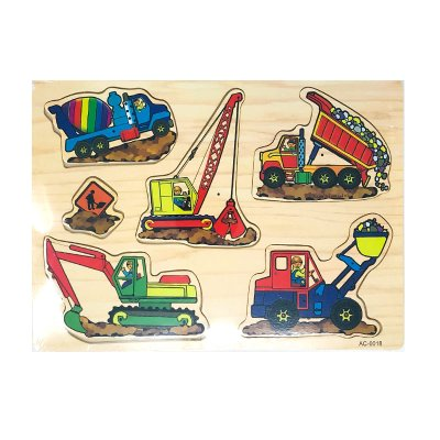 Wholesaler of Puzzle madera encajable vehículos de construcción 6pzs