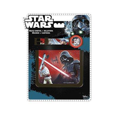 Set reloj digital y billetera Star Wars