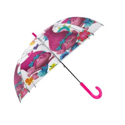 Paraguas transparente automático Poppy Trolls 48cm
