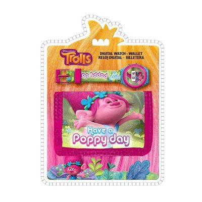 Set reloj digital y billetera de Trolls Poppy