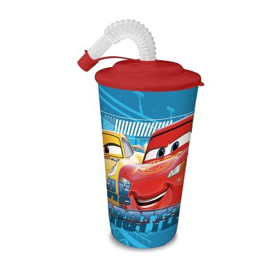 Vaso con caña 500ml Cars Disney - rojo