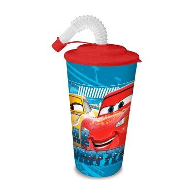 Vaso con caña 500ml Cars Disney - azul claro