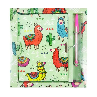 Diario con candado Llama - verde