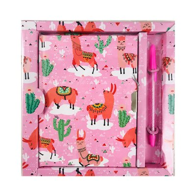 Diario con candado Llama - rosa