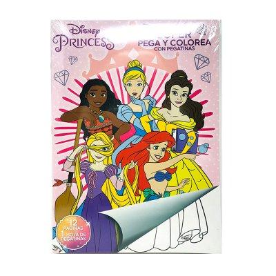 Libros pega y pinta Princesas Disney