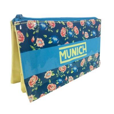 Estuche 3 compartimentos 22x12cm Munich Flores