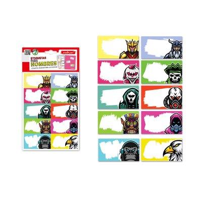 30 etiquetas adhesivas nombre Personajes