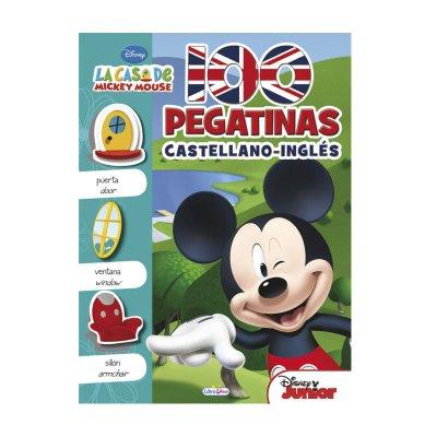 Libro 100 pegatinas castellano - inglés La casa de Mickey