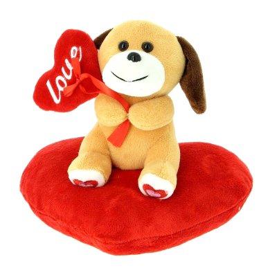 Peluche perrito c/corazón 17cm