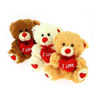 Peluche oso c/corazón 15cm