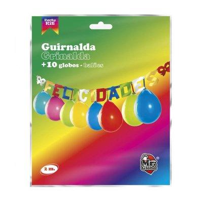 Guirnalda de fiesta Felicidades c/globos
