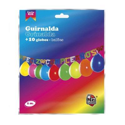 Guirnalda de fiesta Feliz Cumpleaños c/globos