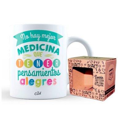 Wholesaler of Taza cerámica frases - Mejor medicina pensamientos alegres