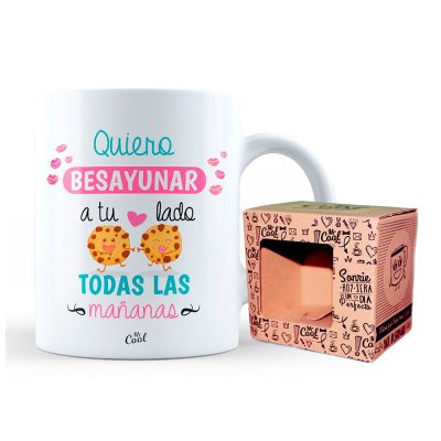 Taza cerámica frases - Besayunar a tu lado todas las mañanas