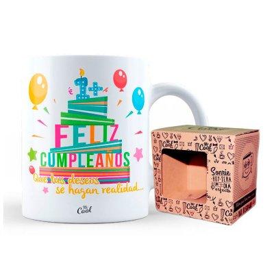 Taza cerámica frases - Feliz Cumpleaños deseos realidad