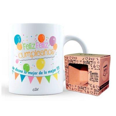 Taza cerámica frases - Feliz cumpleaños te deseo lo mejor