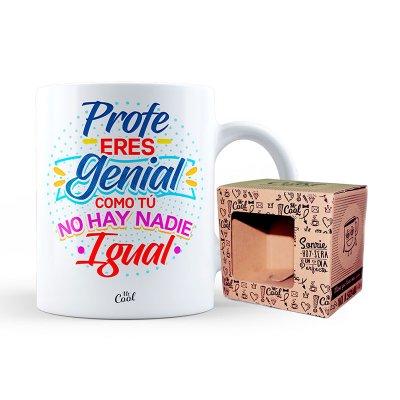 Taza cerámica frases - Profe eres genial - modelo 1