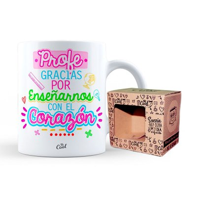 Taza cerámica frases - Profe gracias por enseñarnos - modelo 2