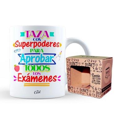 Taza cerámica frases - Taza con poderes para aprobar - modelo 1