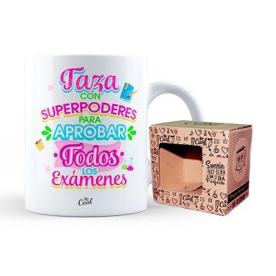 Taza cerámica frases - Taza con poderes para aprobar - modelo 2