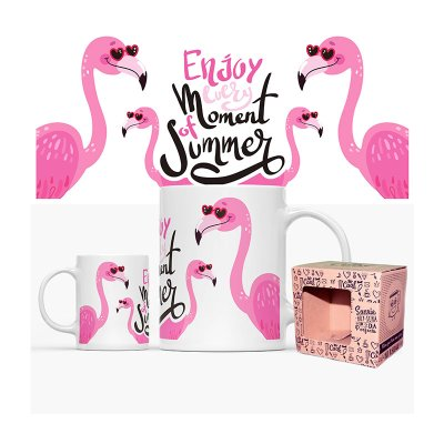 Wholesaler of Taza cerámica frases - Enjoy every moment of summer Flamingo