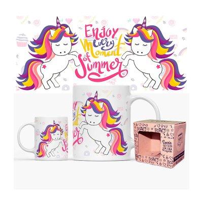Taza cerámica frases - Enjoy every moment of summer Unicorn