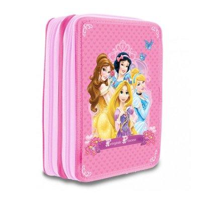 Estuche relleno 2 cremalleras Princesas Disney