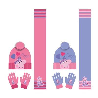 Set gorro guantes y bufanda Peppa Pig 2 colores