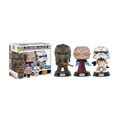 Pack 3 Funko POP! Bobble Star Wars Tarfful Emperador Utapau Clone Trooper (Ed Limitada)