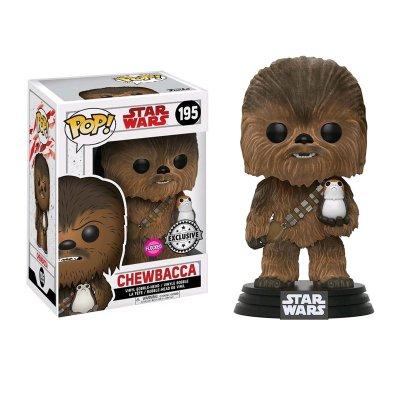 Figura Funko POP! Vynil Bobble 195 Chewbacca c/Porg Star Wars (Flocked)