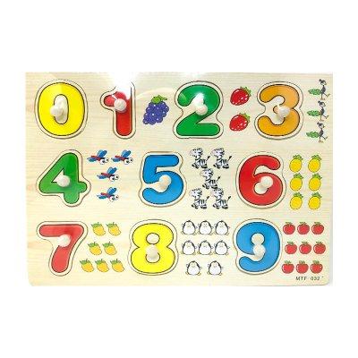Puzzle madera encajable números c/formas 10pzs