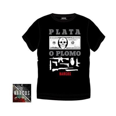 Camiseta adulto Narcos Plata o Plomo